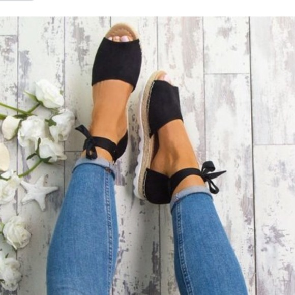 98d6f05550 Shoes | Flat Wedge Espadrille Sandals Black | Poshmark